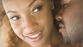 Close up of African American couple's faces