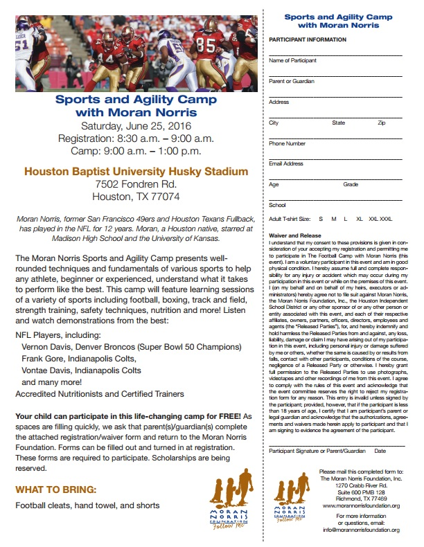 Moran Norris Foundation Football Camp