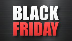 Black Friday sale on Black brushed metal background