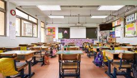 Interior of classroom in elementary school