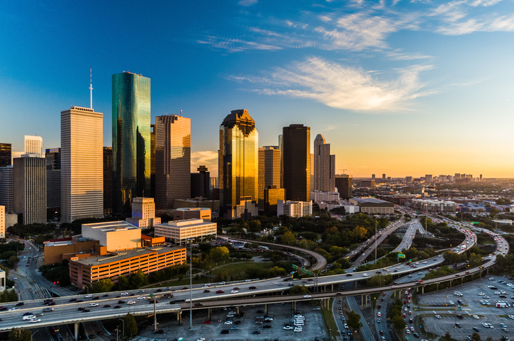Houston Downtown Aerial at Sunset, Angled View with Highway